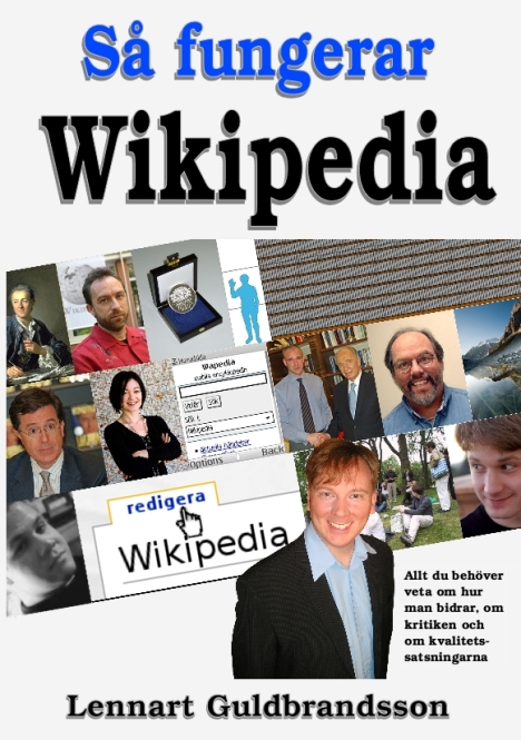 """Omslaget till """"Så fungerar Wikipedia"""" av Lennart Guldbrandsson"""