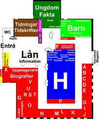 Karta över Nynäshamns bibliotek (H är skönlitteraturavdelningen)
